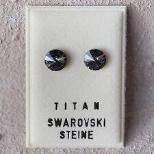 NEU Titan OHRSTECKER 8mm SWAROVSKI STEINE silver night/schwarz/blau OHRRINGE