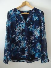 Jacqui E Womens Floral Blouse Size 12 Long Sleeve See Through Blue Work Career