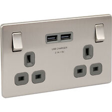 NEW 10 X Electrical Screwless Flat Brushed Steel 13A DP USB Switch Socket 2 Gang