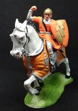 ELASTOLIN chevalier français en armure écu orange sur son destrier caparaçonné