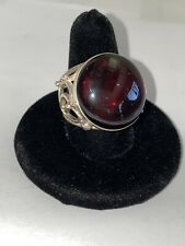 Vintage Poland V-8 925 Sterling Statement Ring With Garnet Red Stone
