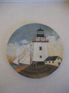 Sakura/David Carter Brown Lighthouse & Sailboat Plastic Plate 8 1/2in.R NWNT