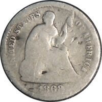 1868-S H10C SEATED SILVER HALF DIME AG DETAILS DAMAGE / BENT / CULL  041521042