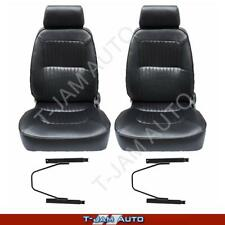 Deluxe Classic Pair 2 x Black W/ Seat Rails Leather Car Bucket Seats - Gemini