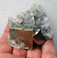 PYRITE BRILLIANT CUBIC CRYSTAL with QUARZTS from PERU...........BEAUTIFUL PIECE.
