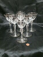 VINTAGE SPEAKEASY CRYSTAL CORDIALS CUT STEMS   set of 7 beautifull TALL
