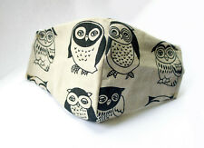 Face mask Olson, Owls, handmade strong pretty cotton mask with filter pocket