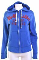 HOLLISTER Womens Hoodie Sweater Size 10 Small Blue Cotton Loose Fit  MR22