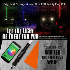"60"" 5FT RGB Frost Tube 5050 LED Light Whip Quick Release Bluetooth Offroad 1Pc"
