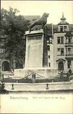 BRAUNSCHWEIG ~1900 Strassen Partie Säule mit Löwe vor der Burg alte Postkarte