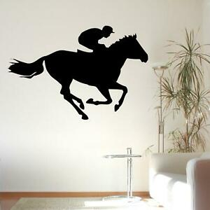 Horse Racing Silhouette Riding Sports Wall Sticker Decal Transfer Home Vinyl UK