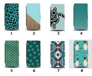 Turquoise Green Flip Wallet Case Wood Wooden Turtles Maroon Pattern Design 8132