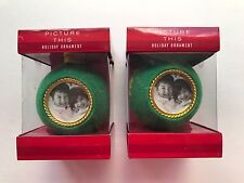 Liz Claiborne Picture This Ornament Lot of 2 Christmas Holiday Decoration New