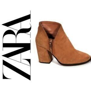 ZARA Genuine Suede Brown/Tan Gold Zipper Chunky Heel Boots/Booties Size US 8.5