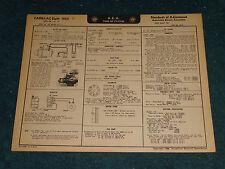 1952 CADILLAC V-8 WIRING DIAGRAM & TUNE-UP CHART / FREE SHIPPING!!