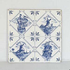 "Delft Ceramic Tile Blue Square Wessel Nautical Ship Windmill Wall Decor 6"" x 6"""