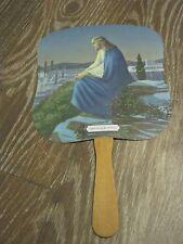 Vtg Hand Fan Scrivner Stevenson Funeral Home Missouri Christ on the Mt of OLives