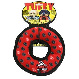 Tuffy Durable Ring Dog Toy with Squeaker, Multicolor.