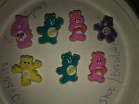 Glow In Dark Care Bears Lot Of 7 Crocs Shoe,Bracelet,Lace Adapter Charms,jibbitz