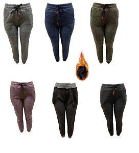 New women fashion  thick velvet fur lining pocket colors casual jogger pant
