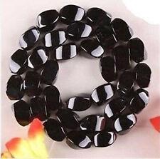 "8x16mm RARE Natural Black Agate Onyx Gemstones Loose Beads 15"""