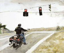 MOTORCYCLE ART PRINT - Stop by Andrew Wyeth 28.5x25 Biker Country Road Poster