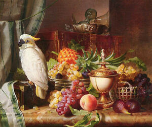Oil painting Josef Schuster - Still Life With Fruit and a Cockatoo bird parrot