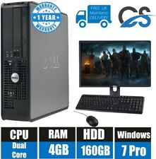 Windows 7 Voll Dell Computer Desktop Tower Set PC 4GB RAM 160GB HDD Wifi
