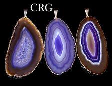 "Silver Plated Purple Agate Slice Pendant 1.5""-2.5"" Long (AP13BT)"