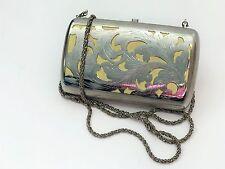 Genuine *Shana London* Silver Box Clutch Bag - Detachable Strap - Good Condition