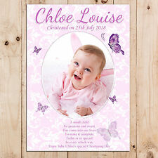 Personalised Girls Christening Baptism Day Party PHOTO Poster Banner N13