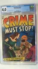 CRIME MUST STOP # 1 HILLMAN 1952 SCARCE ONLY 11 GRADED CGC 4.0 WHITE PGS