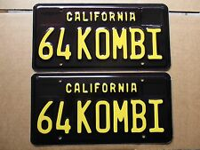 """64 KOMBI"" California Black Plates, CA Legacy Plate, VW, Volkswagen, Bus, 1964"