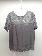 THE KOOPLES Anthropologie~NEW Skull Lace Short Sleeve Silk Blouse Top $220 L