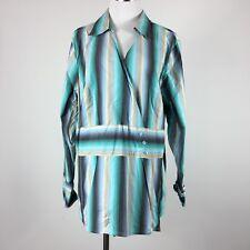 Lane Bryant womens blouse cross V button size 18/20 striped long sleeve