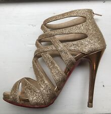 Christian Louboutin Shoes Gold Glitter Strap Shoes Size 35 1/2 (5.5us)