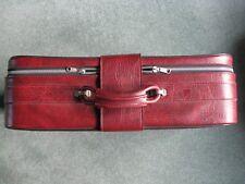 Vintage Burgandy Medium Size Suitcase - Buckles and Zip - Theatre Prop - Display