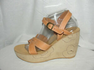 SAM & LIBBY Shoes Women's Size 9M Tan Leather Platform Sueded Feel Wedge Sandals