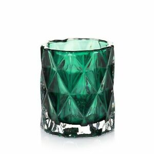 Yankee Candle Fractal Glass Votive Candle Holder, Emerald Green