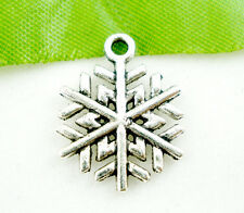 15 ANTIQUE SILVER CHRISTMAS SNOWFLAKE CHARM~17x19mm~Cards~Wine Glass Charm (X47)