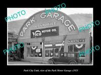 OLD LARGE HISTORIC PHOTO OF PARK CITY UTAH, THE PARK MOTOR GARAGE c1925