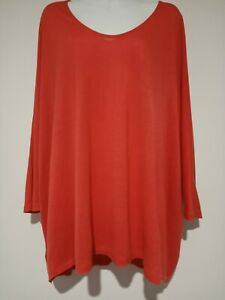 Country Road Women's Bat Wing Orange  3/4 Sleeve  Size Large Top Blouse (#E370)