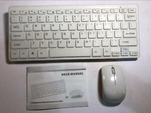 White Wireless MINI Keyboard & Mouse Set for LG 24TL510S Smart TV