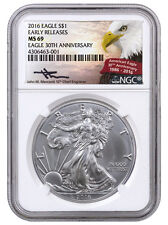 2016 1 Oz American Silver Eagle NGC MS69 ER (Mercanti Signed) SKU38887