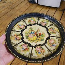 Antique Faith Victorian Round Decorative Metal Tray