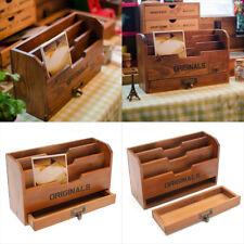 3 Tie Wood Letter Rack Stationery Drawer Holder Storage Organiser Mail Sorter