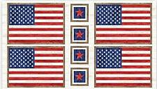 "P&B Sweet Land Liberty American Flag Cotton Fabric Patriotic TRIMMED 23"" Panel"
