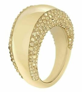 NIB $149 SWAROVSKI PEBBLE RING GOLD Metal Gold CRYSTALS Size 55 58