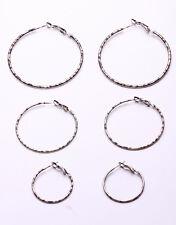 SET OF THREE HOOP EARRINGS IN SILVER METAL AND LEOPARD PRINT FOR PARTIES (ZX38)