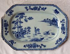 Antique Chinese Blue & White With Deer Stag, Octagonal Lozenge Shaped Platter #2